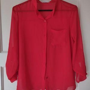 Cotton On Red chiffon blouse